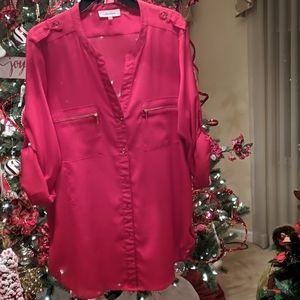 CALVIN KLEIN red XL blouse
